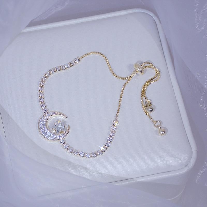 2020 New Arrive Elegant Delicate Zircon Moon Star Bracelet Bling Micro Inlaid Zirconia Feminia Pulseras Bangles Anniversary Gift