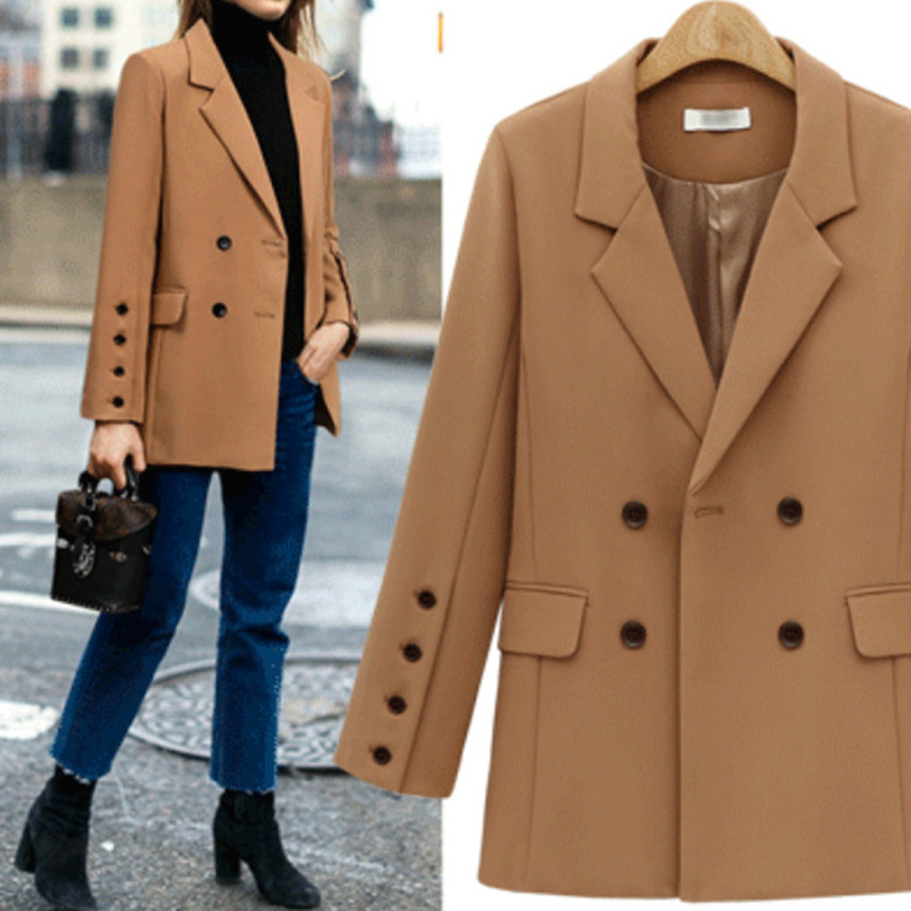 Women Camel Black Double Breasted Decro Blazer Suit Autumn Long Sleeve Turn Down Collar Single Button  Opened OL Blazer Coats