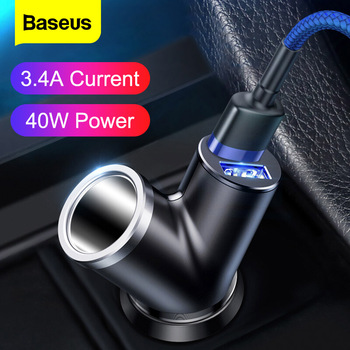 Baseus Car Charger 40W Double USB Shunt For iPhone Samsung Xiaomi mi 3.4A Fast Car Charger Power Adapter Car Cigarette Lighter high quality black dual double usb port car charger cigarette lighter for iphone ipad samsung cell phone charger for travel use