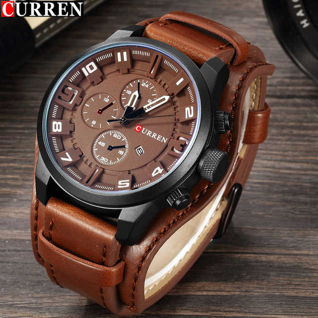 CURREN Top Brand Luxury Mens Watches Male Clocks Date Sport Military Clock Leather Quartz Business Men Watch drop shipping 8225