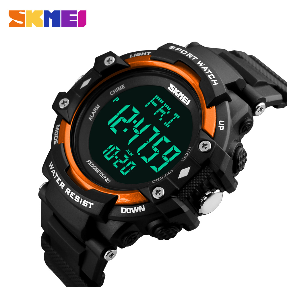 <font><b>SKMEI</b></font> Men Electronic Watch Pedometer Heart Rate Monitor Male Waterproof Sport Watches Digital Relojes Hombre Montre homme Clock image