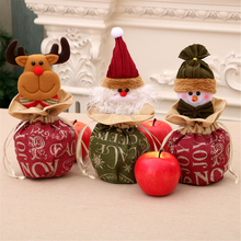 New Christmas Childrens Gift Bags Burlap Closure Apple Eve Candy 3 Styles