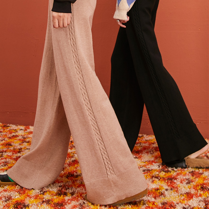 SAM'S TREE Multicolor Wide Leg Korean Knitted Women Pants 2019 Winter Pure Drawstring Elastic Waist Loose Casual Female Trouser