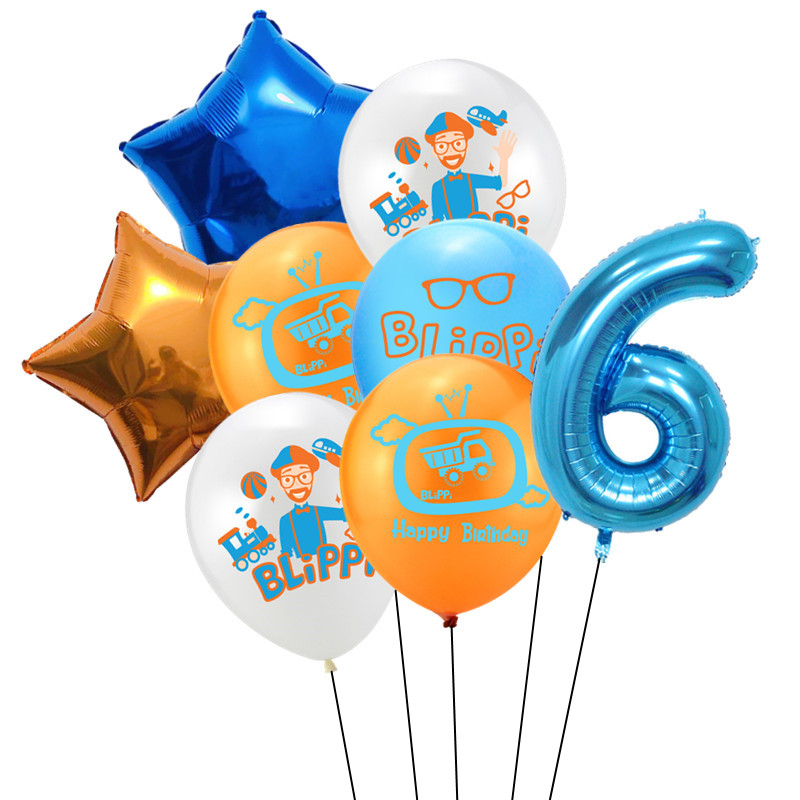 8 шт Blippi Фольга Шар 32 дюймов синий номер латексные воздушные шары с днем рождения Свадебная вечеринка украшения поставки детского дня рождения-5