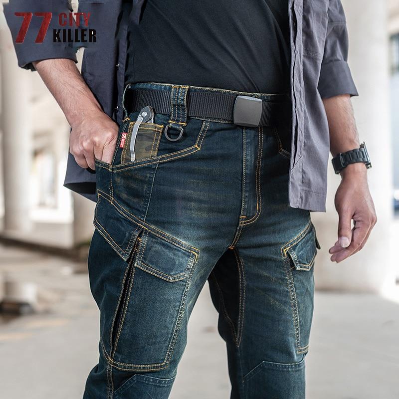 77City Killer тактические джинсовые брюки для мужчин SWAT с несколькими карманами эластичные Джоггеры мужские военные носимые ковбойские брюки ...