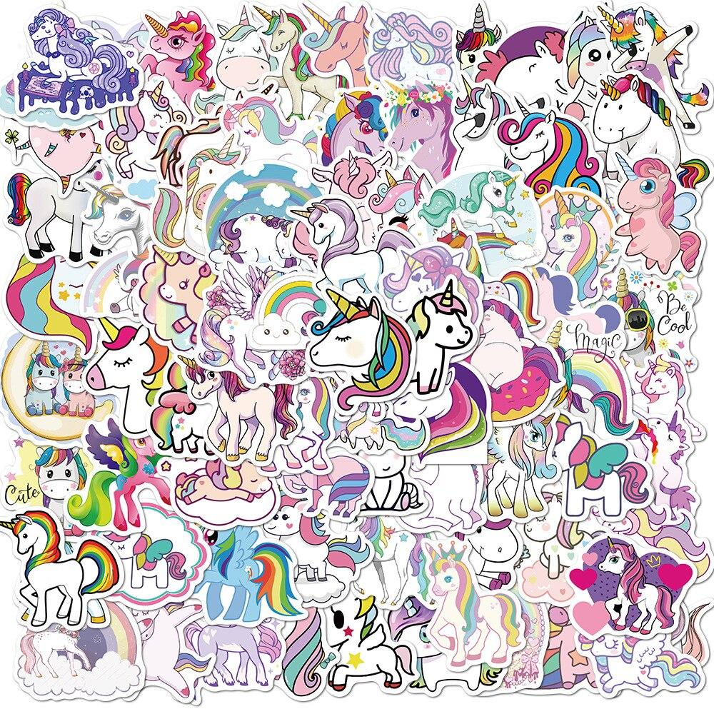 10/50/100pcs Stickers for Unicorn Cartoon Animal Waterproof Cute Graffiti Sticker To DIY Luggage Bike Notebook Laptop stickers