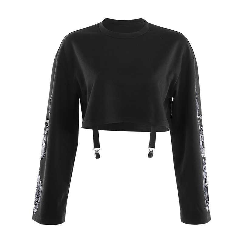 2019 Autumn Crop Sweatshirt Dragon Print Long Sleeve Korean Fashion Pullover Black Casual Gothic Streetwear Sweatshirts