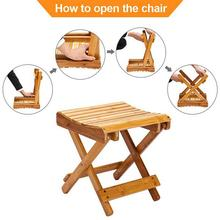 Children Portable Folding Chair Collapsible Bamboo Stool for Shower Foot Rest Spa Shaving Sauna Outdoor Hiking Camping BBQ Chair