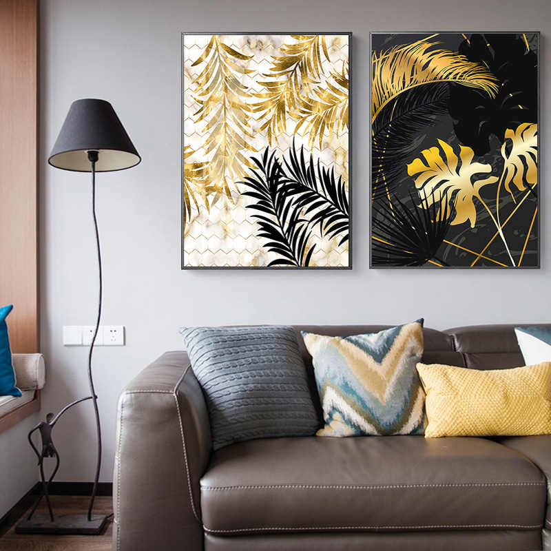 الأزياء الشمال النباتات الذهبي ليف قماش اللوحة الملصقات و طباعة صور فنية للجدران لغرفة المعيشة غرفة نوم غرفة الطعام ديكور