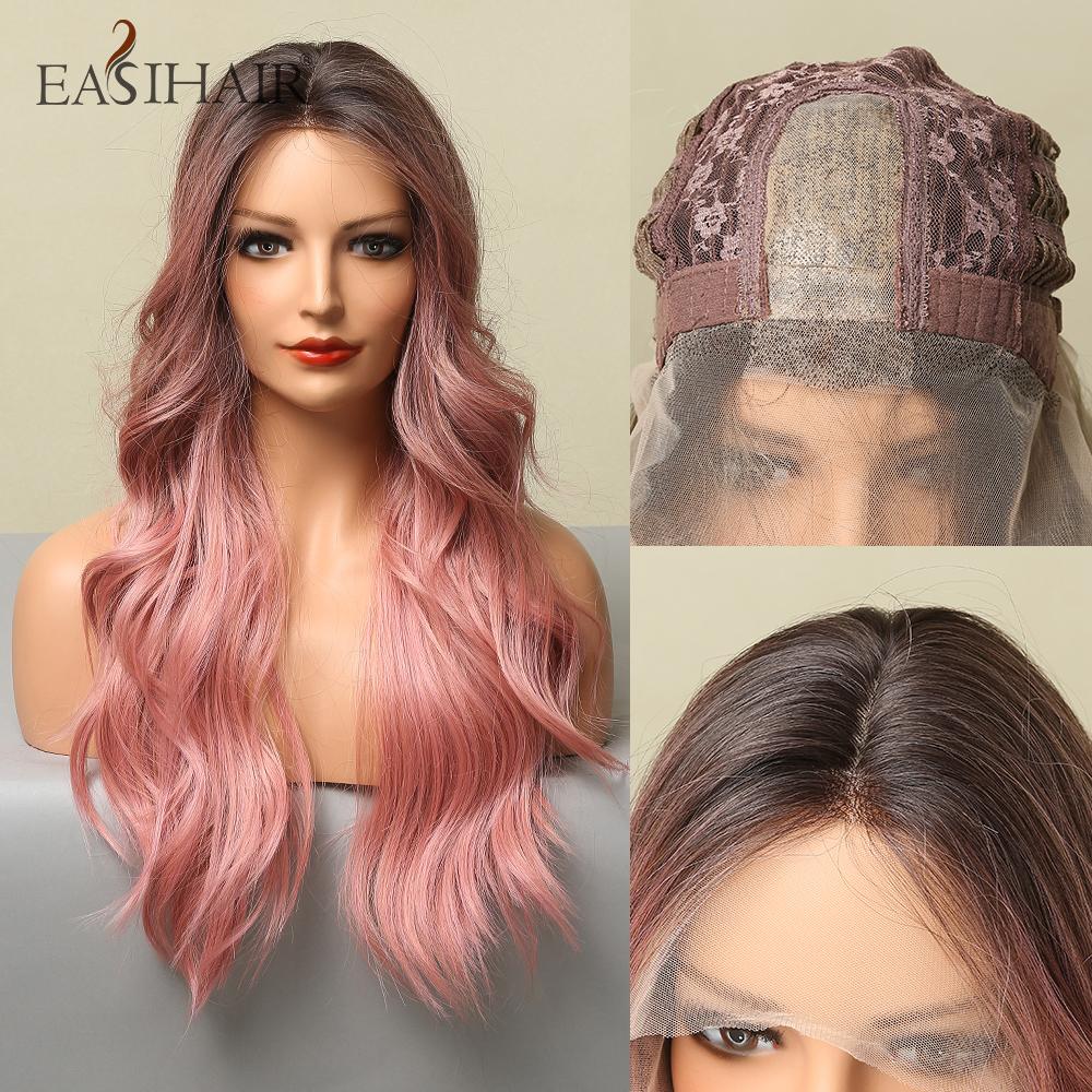 EASIHAIR Long Pink Synthetic Wig Hairline Lace Wigs for Women Soft Hair Front Lace Part Wig Cosplay Pink Wig Heat Resistant