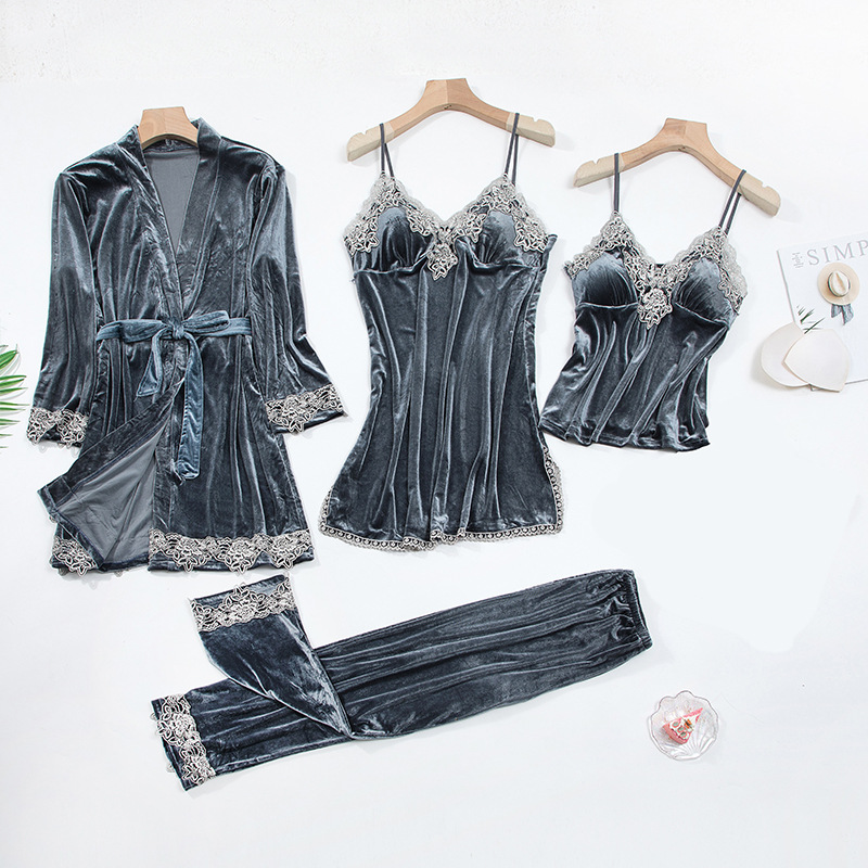 2020 Gold Velvet 4 Pieces and 5 Pieces Warm Winter Pajamas Sets Women Sexy Lace Robe Pajamas Sleepwear Kit Sleeveless Nightwear 11