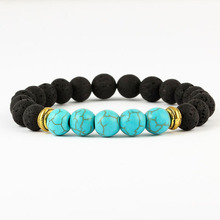 Real Natural Stone Beads Bracelets Lucky Charm Volcanic Rock 8mm Colorful for Men Women Healing Balance Yoga Jewelry