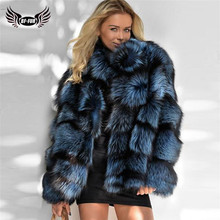 2020 Winter Women Real Fox Fur Jacket With Stand Collar genuine Leather Natural Silver Fox Fur Jacket High Quality Fur Overcoat