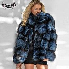 2020 الشتاء النساء ريال فوكس الفراء سترة مع الوقوف طوق جلد طبيعي الطبيعية الفضة الثعلب الفراء سترة عالية الجودة الفراء معطف