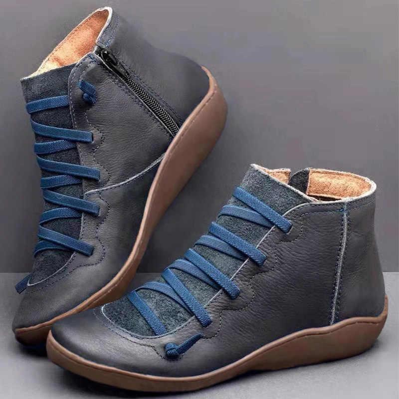 Kadın PU deri yarım çizmeler kadın leopar sonbahar kış çapraz Strappy Vintage kadınlar serseri çizmeler düz bayan ayakkabıları kadın Botas