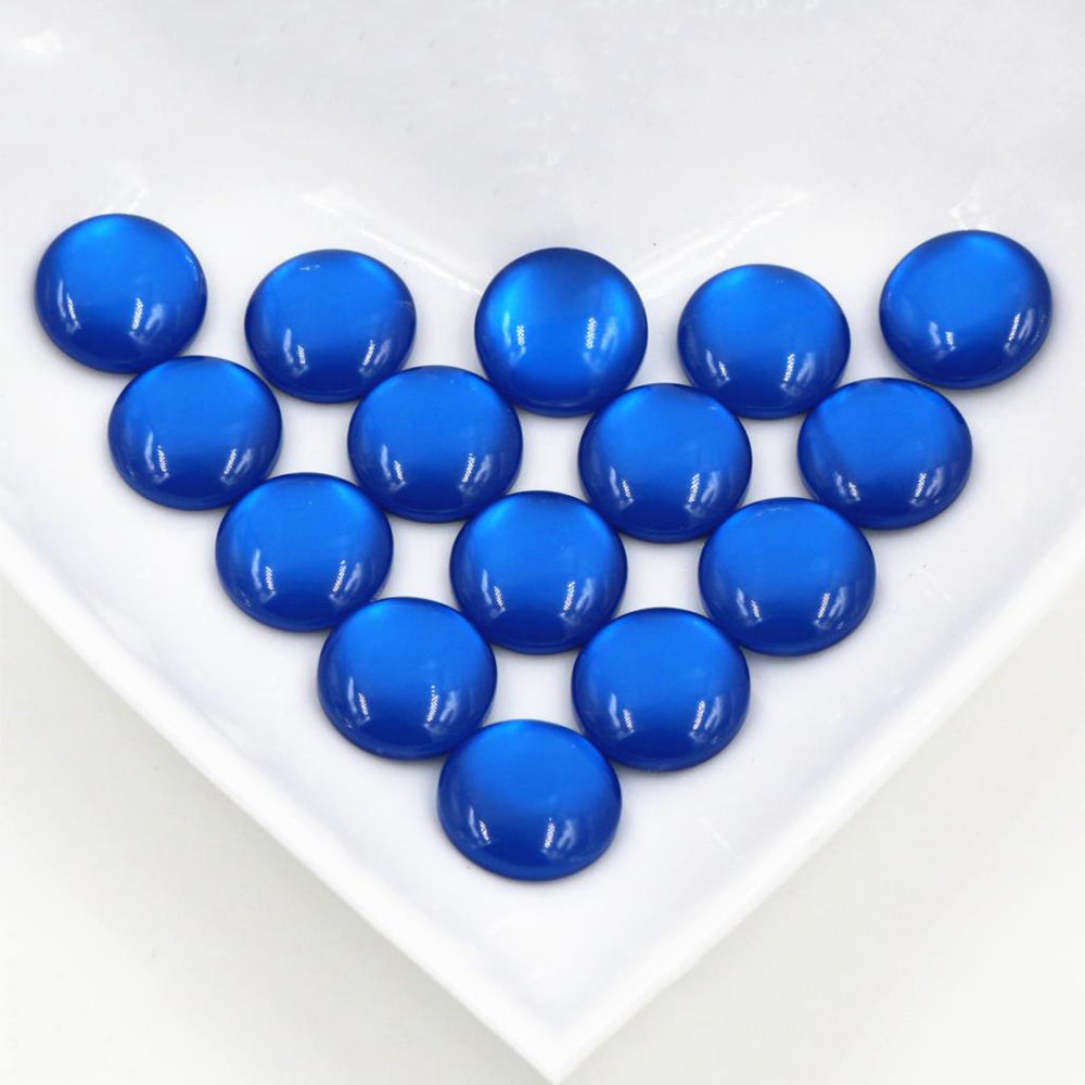 New Fashion 40pcs 12mm Blue Color Flat Back Resin Cabochons Cameo  G6-34