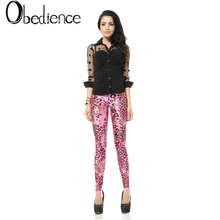 Pink Leopard Printed Bottom Pants Tight Womens High-waist Fitness Slimming Elastic Leisure Sexy