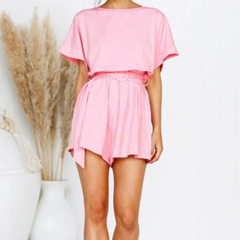 Summer Women Short Sexy Playsuits Flare Sleeve Jumpsuits Fashion Design Beach Party Casual Lace Up Wide Leg Romper