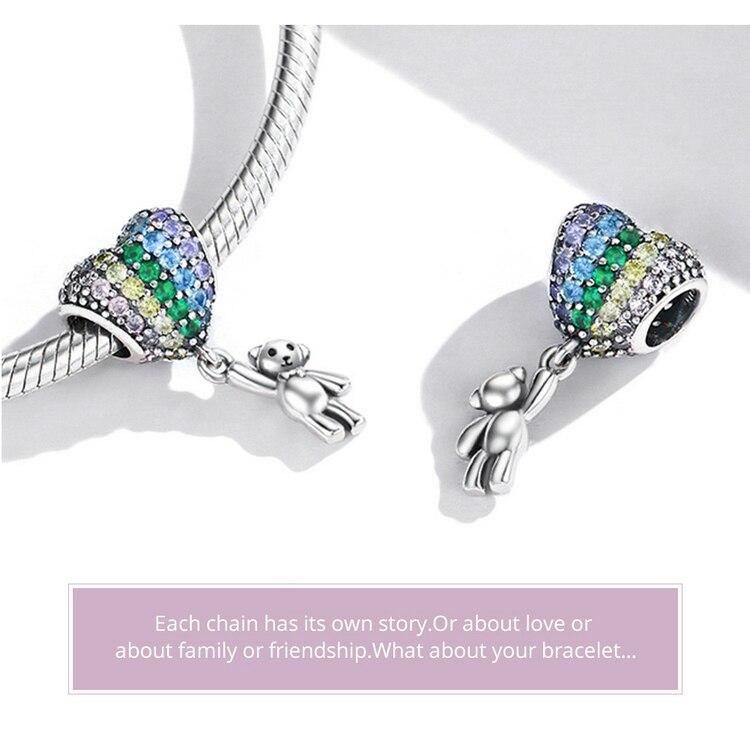 Luxury Silver Rainbow Heart Blue Crystal Balloon Bear Charm 925 Sterling Silver Pendant for Original Bracelet DIY Jewelry