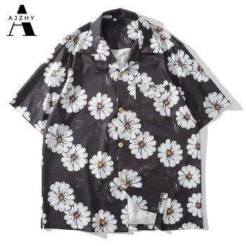 Daisy Flower Print Hip Hop Shirts Short Sleeve Summer Beach Streetwear Hawaiian Shirts Men Casual Harajuku Aloha Shirt For Men 4