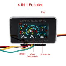 4 In 1 LCD Car Digital Alarm Gauge Pressure Voltmeter Volt Water Temperature Oil Pressure Fuel Gauge Temperature Sensor 12V 24V