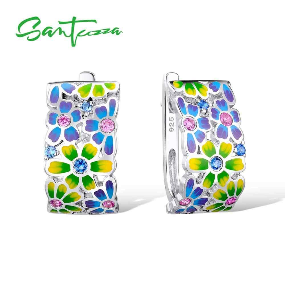 Santuzza ชุดเครื่องประดับแฮนด์เมดเคลือบฟันสีขาว CZ หินดอกไม้แหวนต่างหู 925 เงินสเตอร์ลิงแฟชั่นผู้หญิงชุดเครื่องประดับ