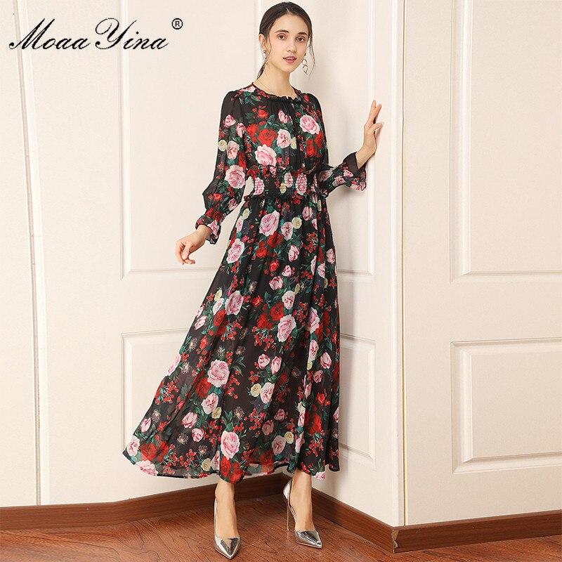 MoaaYina Fashion Designer dress Spring Summer Women Dress Long sleeve Elastic waist Floral-Print Vacation Chiffon Dresses