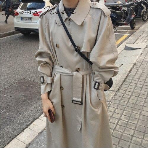 2019 Autumn Windbreaker Women Double Breasted Long Trench Coat Korean Women ClothesStreetwear