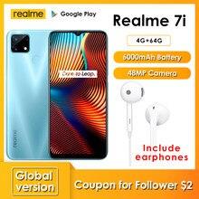 Realme 7i Neueste Smartphones 6,5 Zoll HD Helio G85 Octa Core 4GB 64GB 6000mAh 48MP AI Quad kamera Android 10 LTE handys