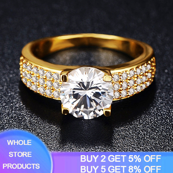 цена на YANHUI With 18K Stamp 4 Claw 2 Carat Cubic Zirconia Wedding/Engagement Rings For Women 18K Gold Color Women's Ring Fine Jewelry