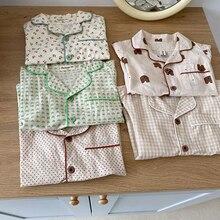 2021 Summer New Kids Pajamas Korean Cotton Sleepwear for Boys and Girls Cute Print Short Sleeve Children 2Pcs Sets