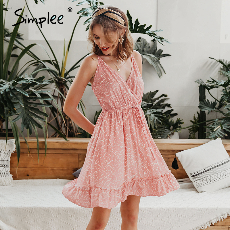 Simplee Sexy v-neck spaghetti strap summer dress Casual dot print sleeveless women short sundress Holiday beach lady mini dress