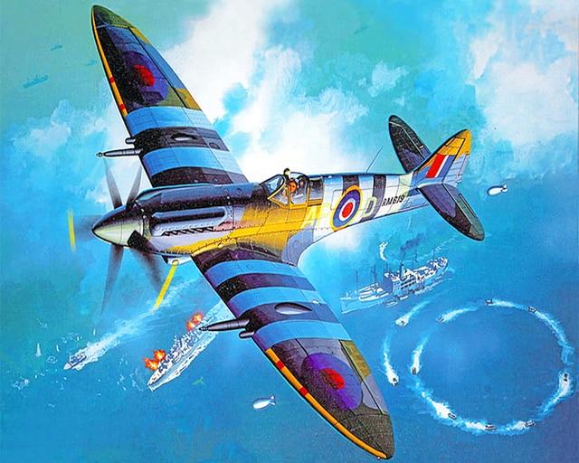Paint By Numbers Adult Kit WW2 RAF Spitfire Fighter War Coastal Patrol