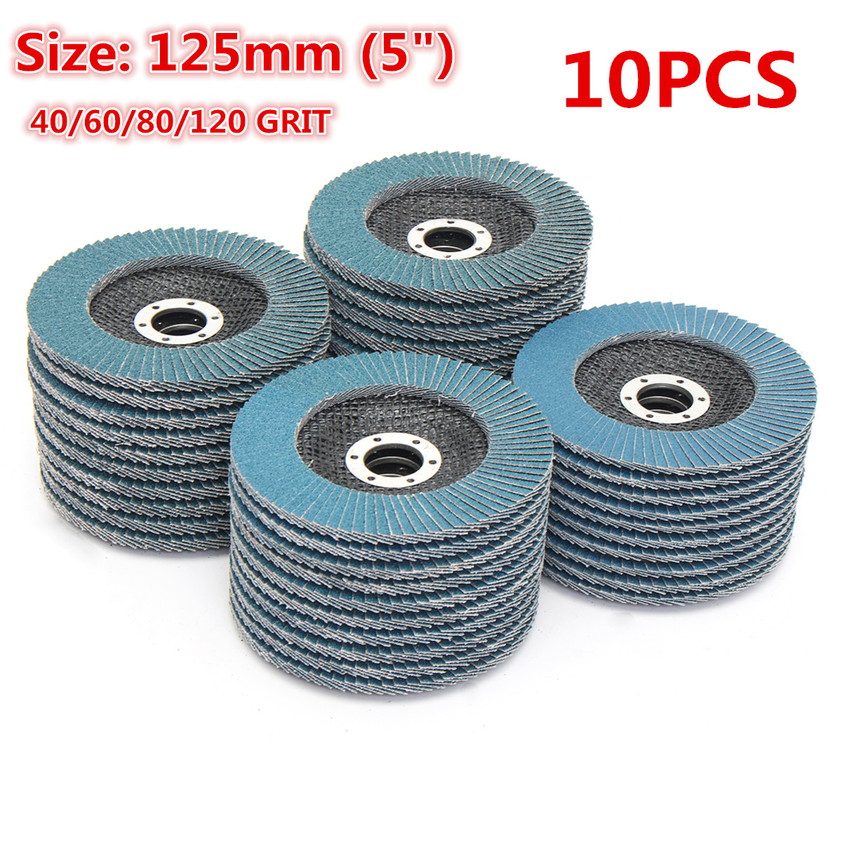 10Pcs Grinding Wheels Flap Discs 125mm 40/60/80/120 Grit Angle Grinder Sanding Discs Metal Plastic Wood Abrasive Tool A65