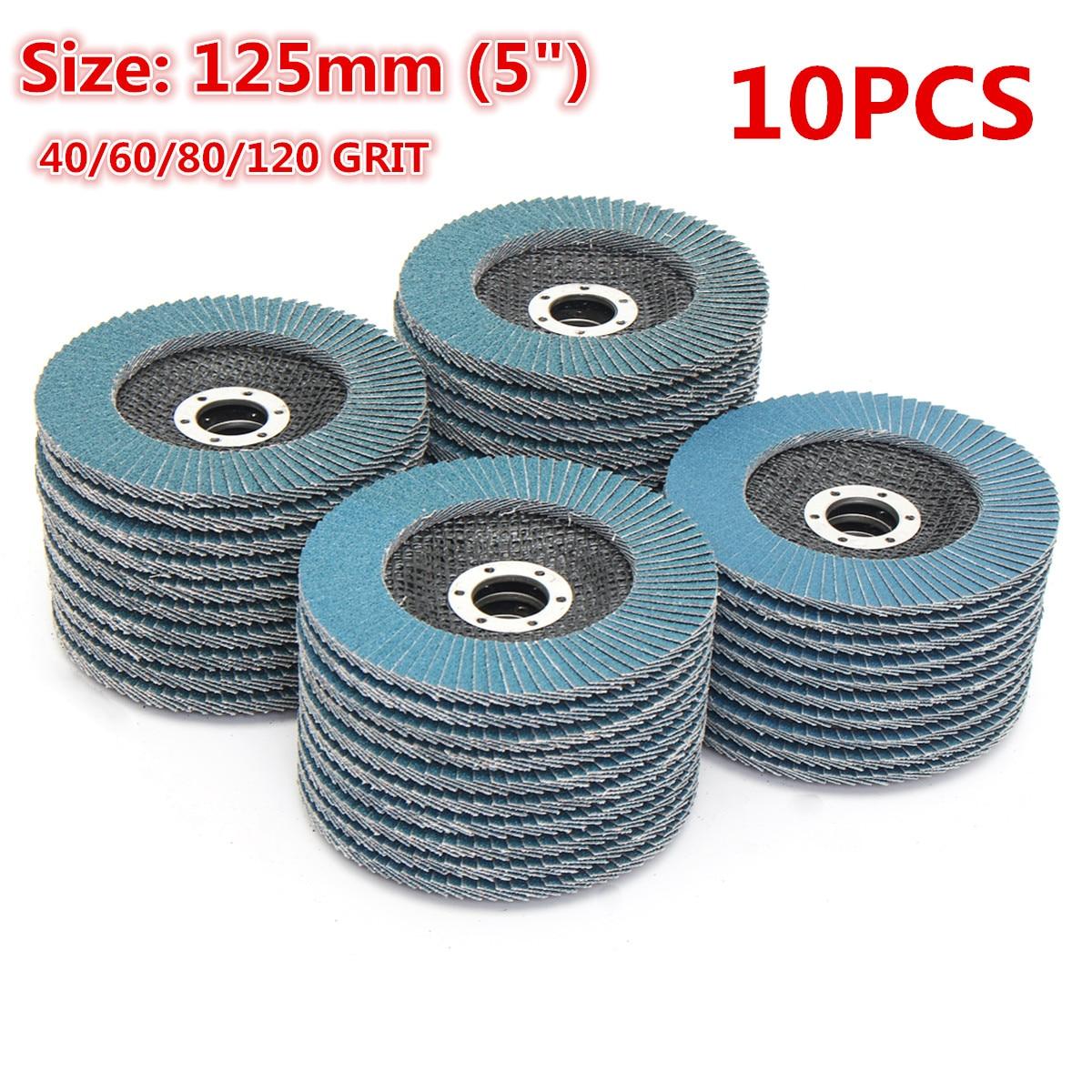 10Pcs Grinding Wheels Flap Discs 125mm 40/60/80/120 Grit Angle Grinder Sanding Discs Metal Plastic Wood Abrasive Tool A65