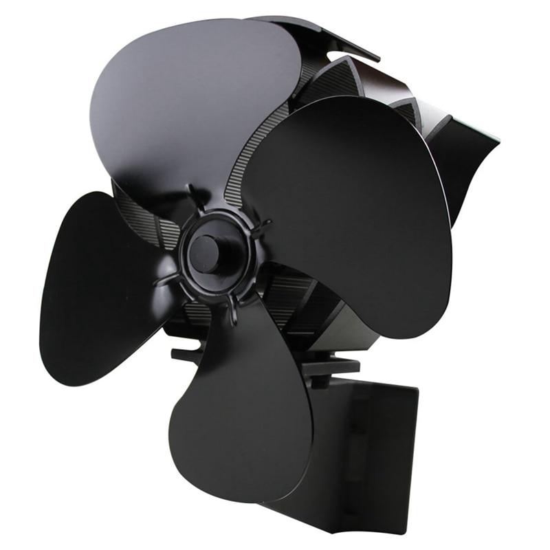 Ev Aletleri'ten Fanlar'de Duvara monte tip 4 bıçak isı Powered soba Fan günlük ahşap brülör eko sessiz ev şömine Fan ısı title=