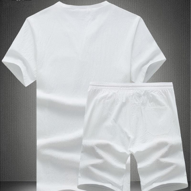 2020 New Arrival Summer Fashion Short Sleeve Male Sets Two Piece Sets Shorts For Men Breathable Cotton Linen Plus Size M-5XL Set