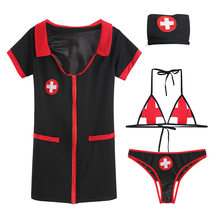 Women Nurse Babydoll Cosplay Hospital Costume Lingerie Dress with Bra and Panty Hat Sexy Uniform Halloween Role Play(China)