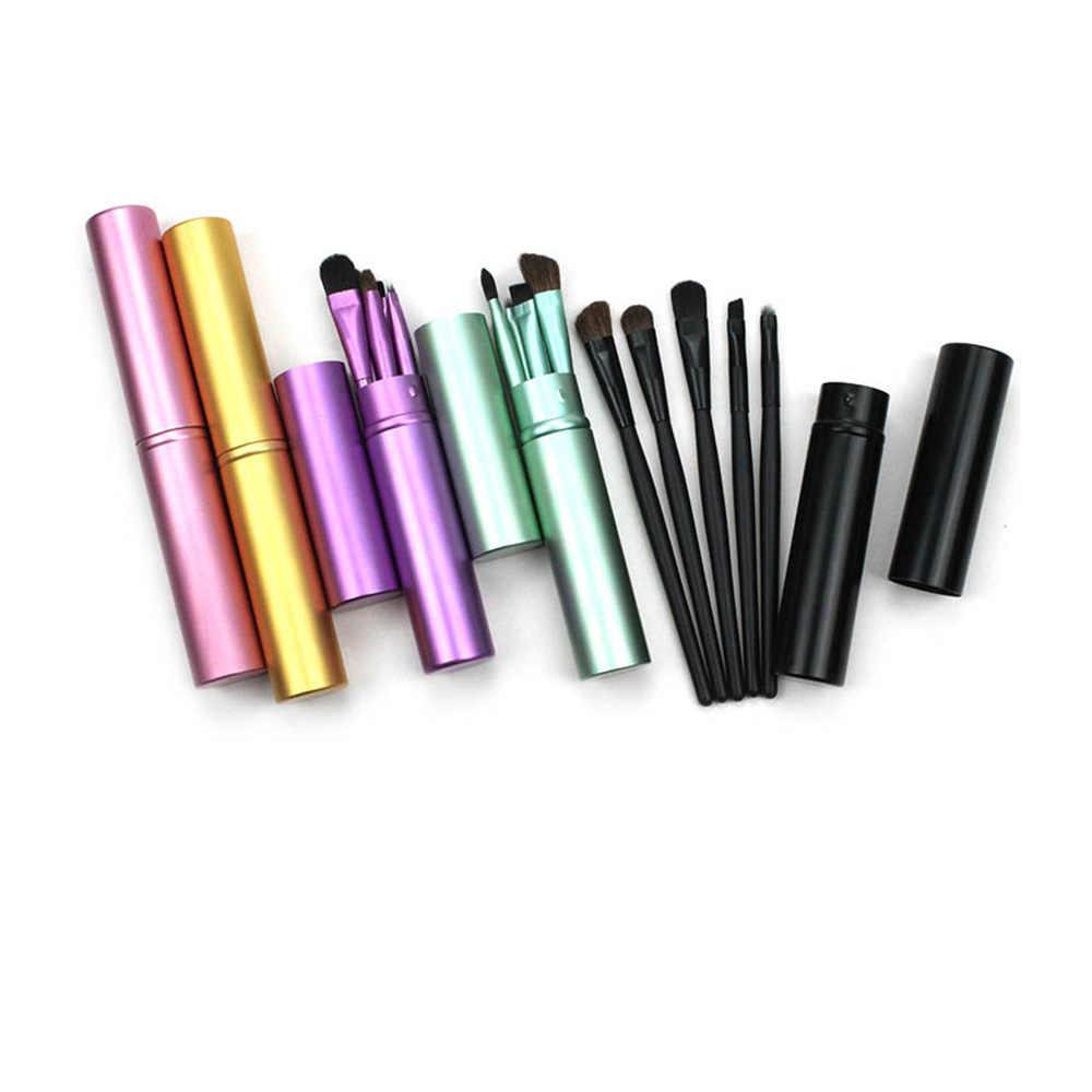 5 Buah Set Kuas Make Up Sikat dengan Perjalanan Kotak Hewan Rambut Kayu Menangani Kualitas Tinggi Set Wajah Bibir Bulu Mata Membuat alat Kasus