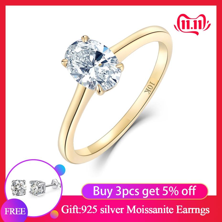 Kuololit 10K Yellow Gold 100% Natural Moissanite Gemstone Rings For Women Handmade Rings Engagement Bride Gift Fine Jewelry