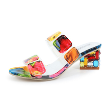 Chunky Heel Colorful Geo Applique Sandals Women Mixed Color Transparent Square Ladies High D30