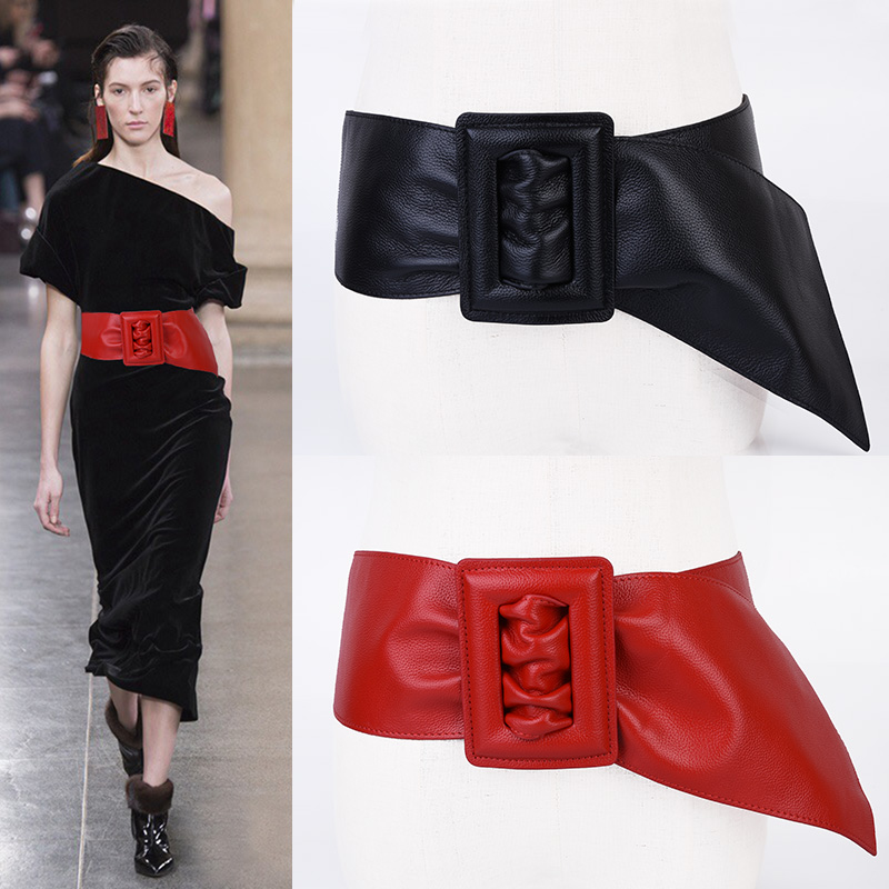 Trendy Sheepskin Wide Black Leather Belt Ladies Fashion Elegant Dress Belts For Woman PU Vintage Women Belt Waistband Girdle