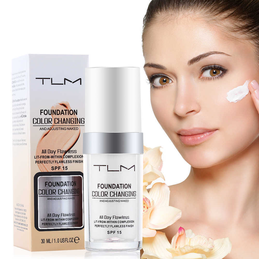 TLM Liquid Foundation Temperature Color Changing Base Makeup Cosmetics Waterproof Skin Tone Full Coverage Face Concealer Cream image