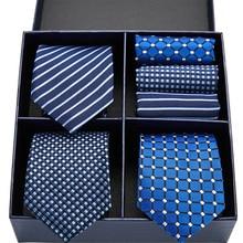 New Classic Tie Blue Red Lattice Stripe 7.5CM 100% Silk Jacquard Woven Extra long Hanky Set Formal Dress Wedding