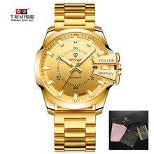 นาฬิกาผู้ชายอัตโนมัตินาฬิกาชายกีฬานาฬิกาแบรนด์หรู Tevise Masculino กันน้ำนาฬิกาทอง