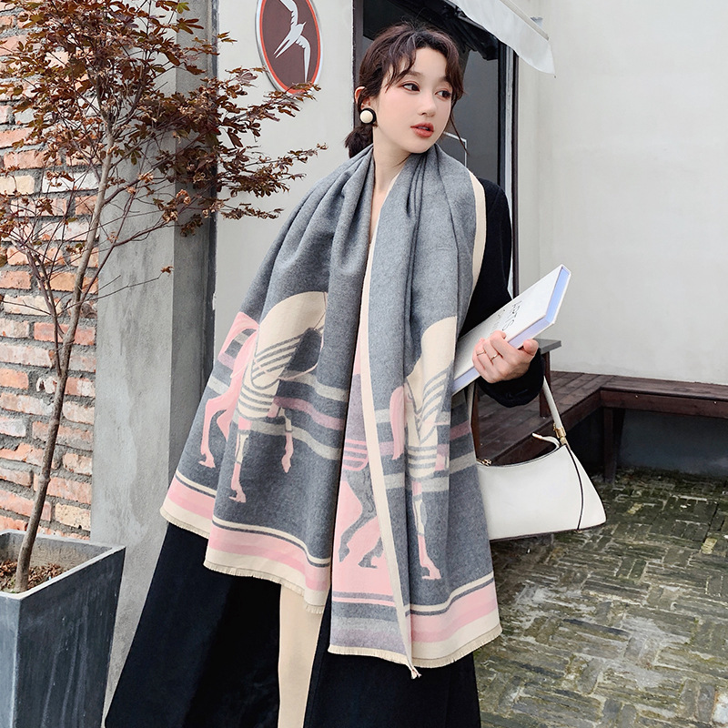 Image 5 - 2019 Winter Scarf for Women Luxury Brand Horse Scarves Lady Thick Cashmere Warm Blanket Pashmina Shawls Warps StoleWomens Scarves   -