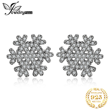Jewelrypalace 925 Sterling Silver Earrings Stud Winter Surprise Snowflakes CZ Cute Unique Design Wedding Jewelry