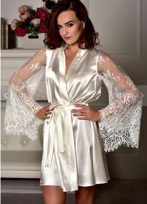 Women Porno Lingerie Sexy Lingerie Dress hot Erotic Underwear Plus Size Lace perspective Long sleeve imitation ice silk Bathrobe 4