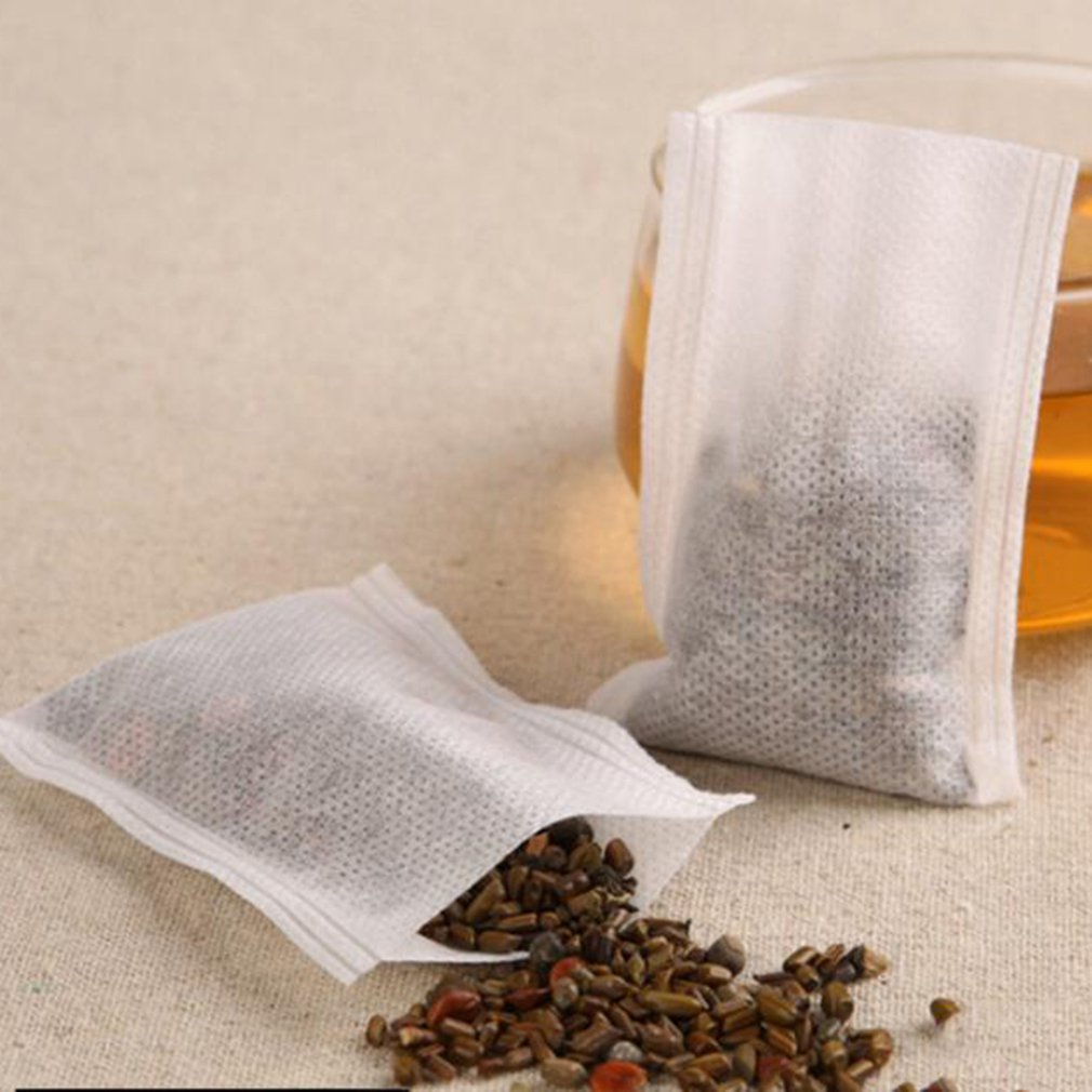 100Pcs PET Empty Draw String Teabags Herb Tea Bag Pouch Loose Tea Bag Pouch
