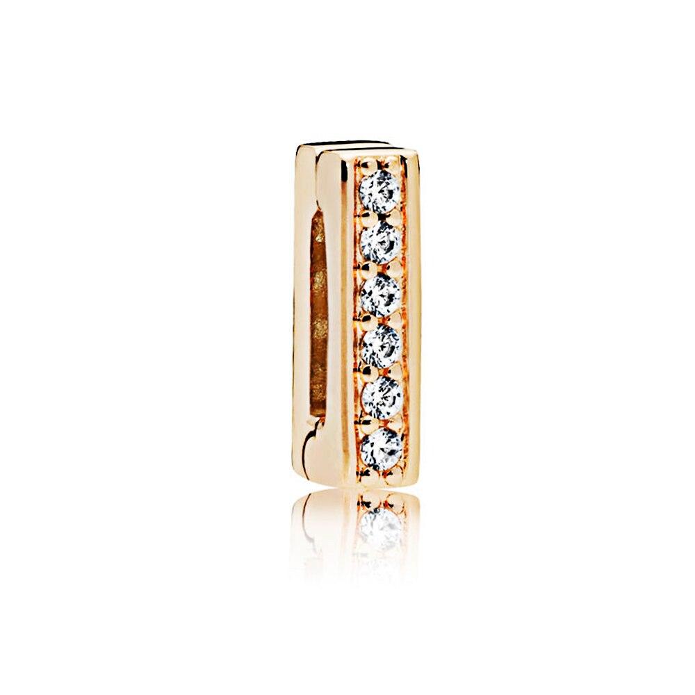 FEOLEO натуральная 925 пробы Серебряная скобка, очаровательные, подходят к оригиналу Pandora браслетов reflexions для Для женщин розового золота Цвет ювелирные изделия - Окраска металла: PAX013-B